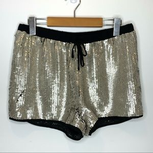 H&M sequin drawstring shorts champagne gold